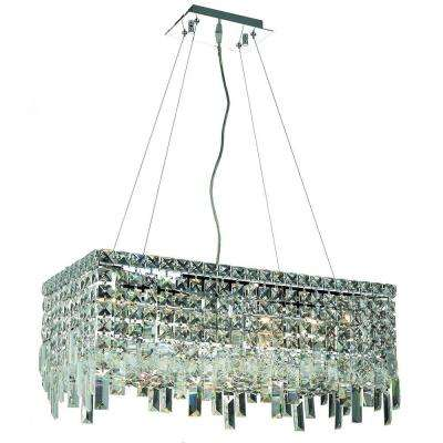6-Light Chrome Pendant with Crystal Clear