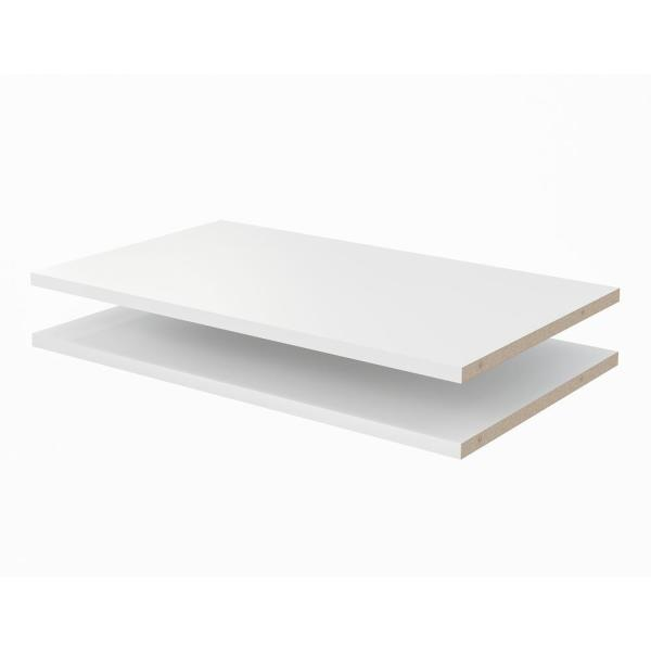 24 in. x 14 in. Classic White Wood Shelves (2-Pack)