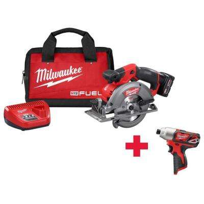 M12 FUEL 12-Volt Lithium-Ion 5-3/8 in. Cordless Circular Saw Kit /W Free M12 1/4 Impact Driver