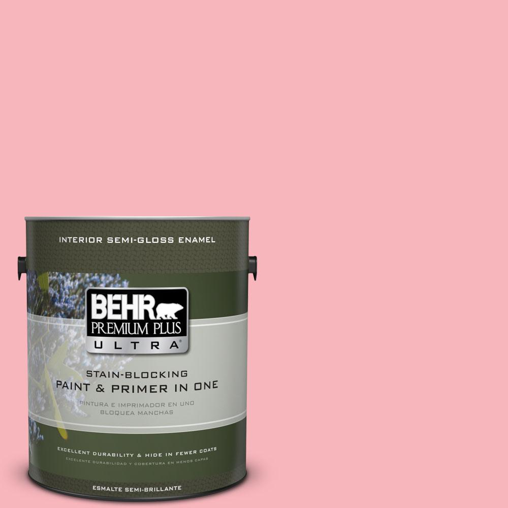 BEHR Premium Plus Ultra 1-gal. #130A-3 Ballerina Pink Semi-Gloss Enamel Interior Paint