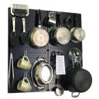 Wall Control Kitchen Pegboard 32 in. x 32 in. Metal Peg Board Pantry Organizer Kitchen Pot Rack Black Pegboard and White Peg Hooks