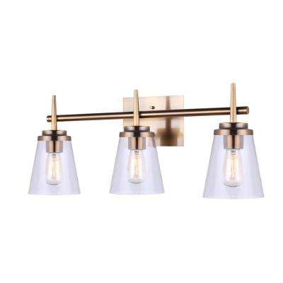 Perla 25.4 in. 3-Light Gold Vanity Light with Clear Glass Shade