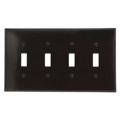 4-Gang 4-Toggle Midway Size Plastic Wall Plate, Brown