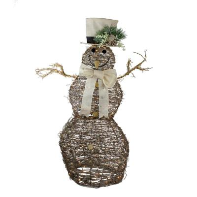 Northlight 48 In Led Lighted Rattan Snowman Outdoor Christmas Decoration 33841572 The Home Depot