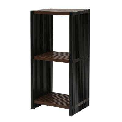 16 in. x 13.25 in. Folding 3-Tier Ebony and Walnut Cube Bookcase Shelf