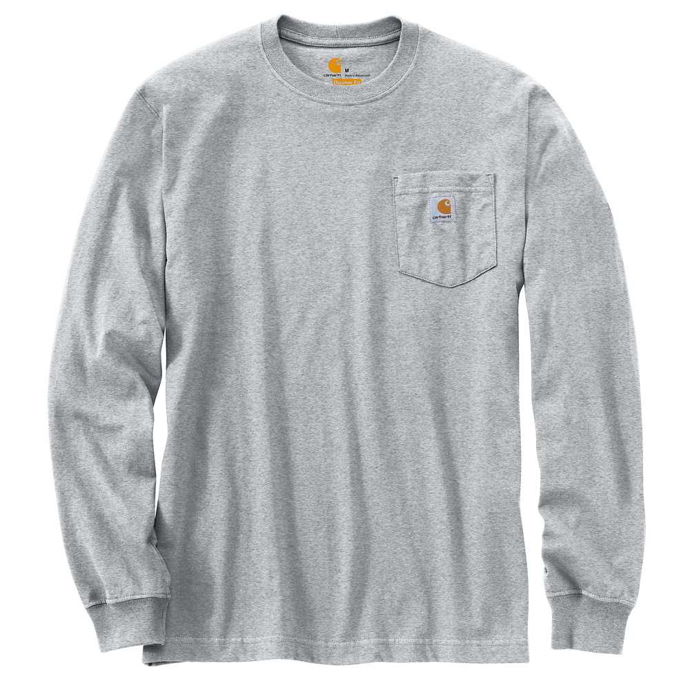 Men's Tall Large Heather Gray Cotton/Polyester Long-Sleeve T-Shirt