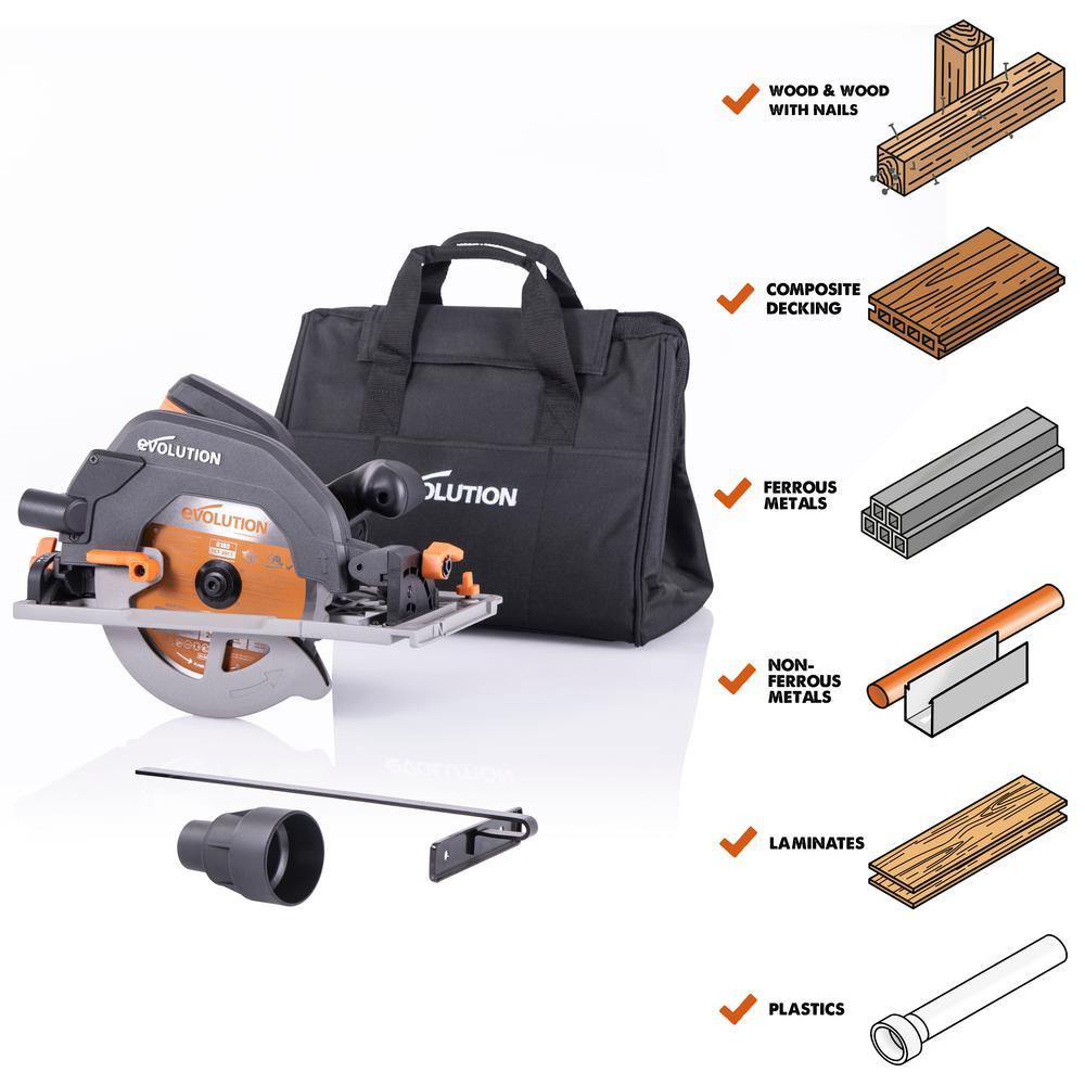 Evolution Power Tools 15 Amp 7-1/4 in. Circular Track Saw with Storage Bag, Multi-Material Blade for Wood, Decking, Metal, Laminate, Plastic