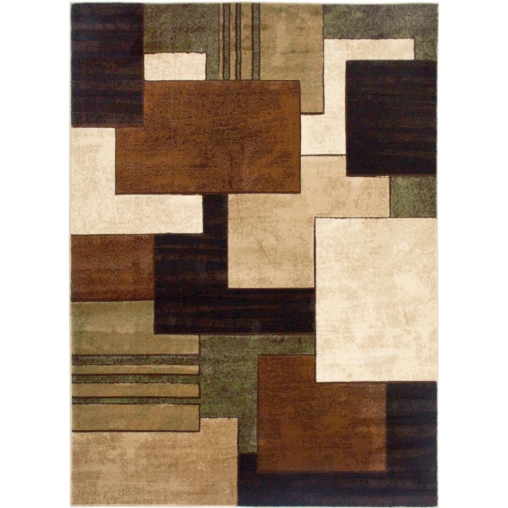Home Rugs: Home Dynamix Tribeca Brown/Green 3 Ft. X 5 Ft. Indoor Area