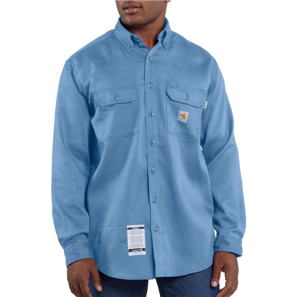 c2d85852e6b7 Carhartt. Men s Regular 2X-Large Medium Blue FR Light Weight Twill Shirt