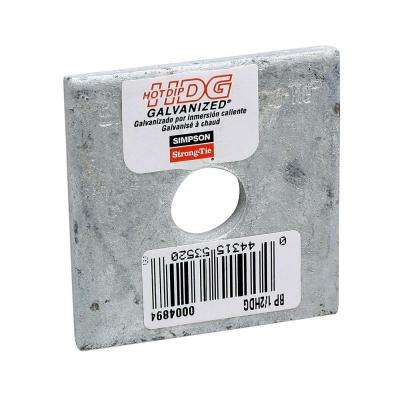 2 in. x 2 in. Hot-Dip Galvanized Bearing Plate with 1/2 in. Dia Bolt