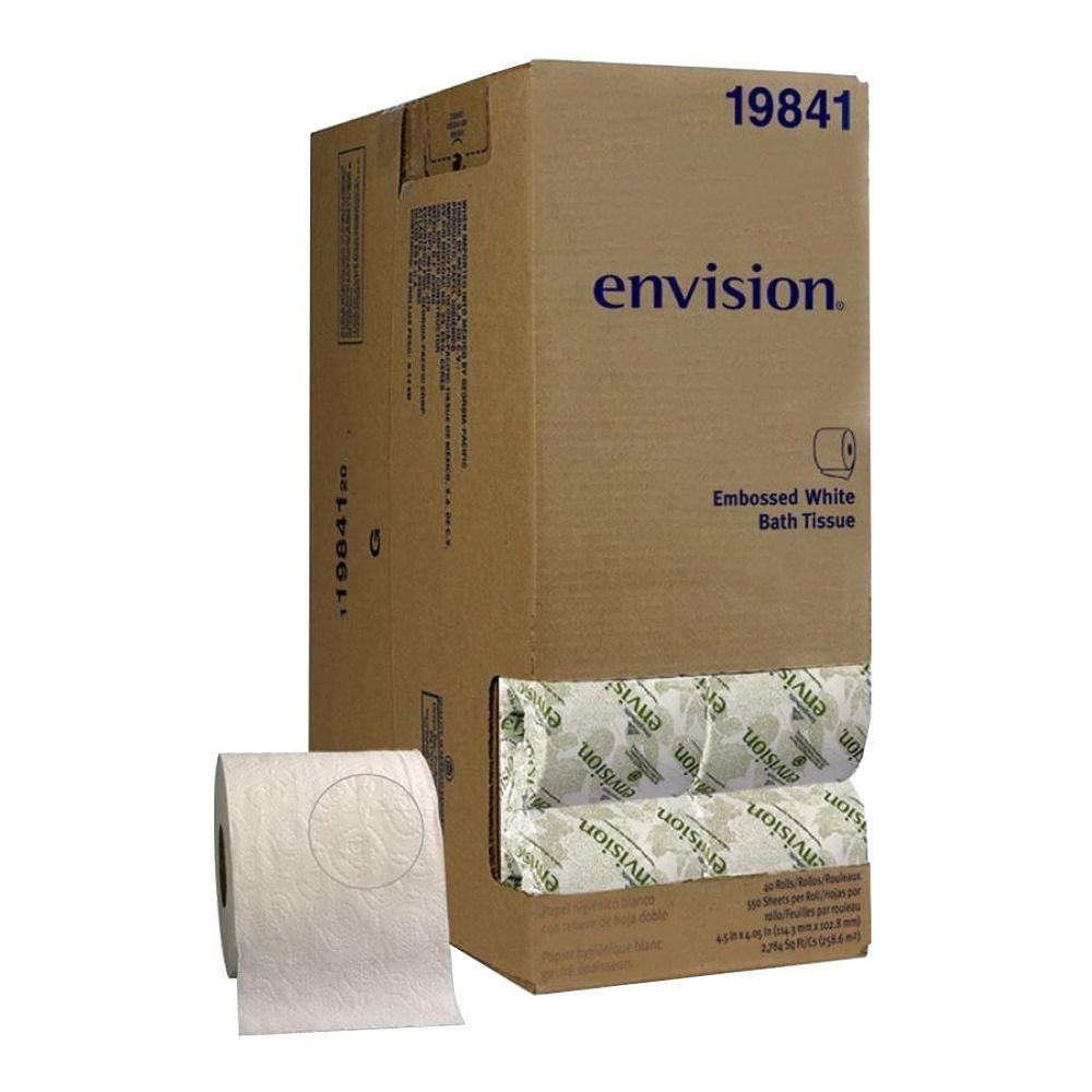 Envision White Embossed Bathroom Tissue 1-Ply (550 Sheets Per Roll)