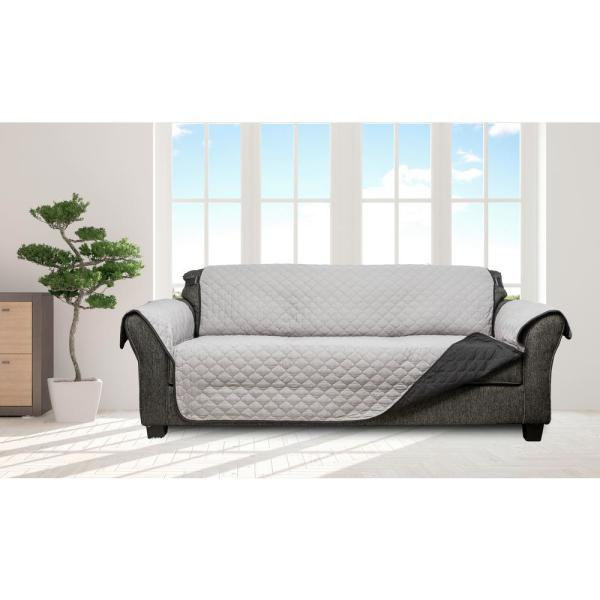 Jameson Silver and Black Reversible Waterproof Microfiber Extra and sofa Cover with Elastic Buckle