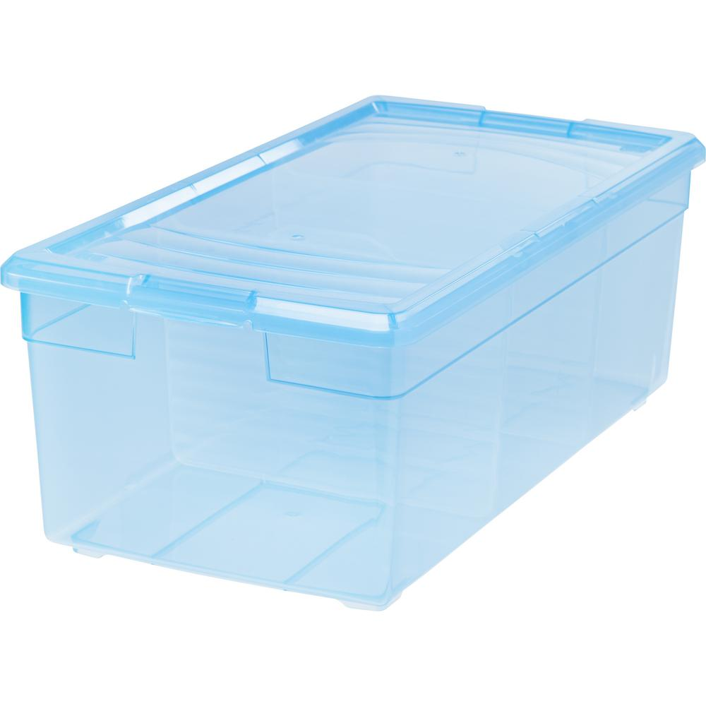 IRIS Media Storage Box in Blue (6-Pack) Organize your favorite movies and music in this media storage box. Includes two movable dividers for storage customization. Maximize your storage space by stacking multiple units. Each box holds 24 DVDs or 38 CDs. Sold in a pack of 6. Color: Blue.