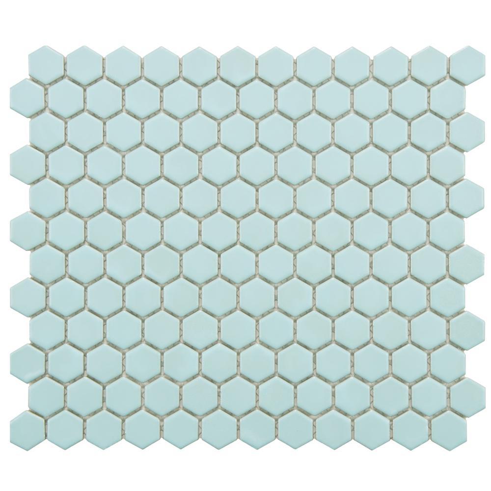 Metro Hex Matte Light Blue 10-1/4 in. x 11-3/4 in. x 5 mm Porcelain Mosaic Tile (8.54 sq. ft. / case)