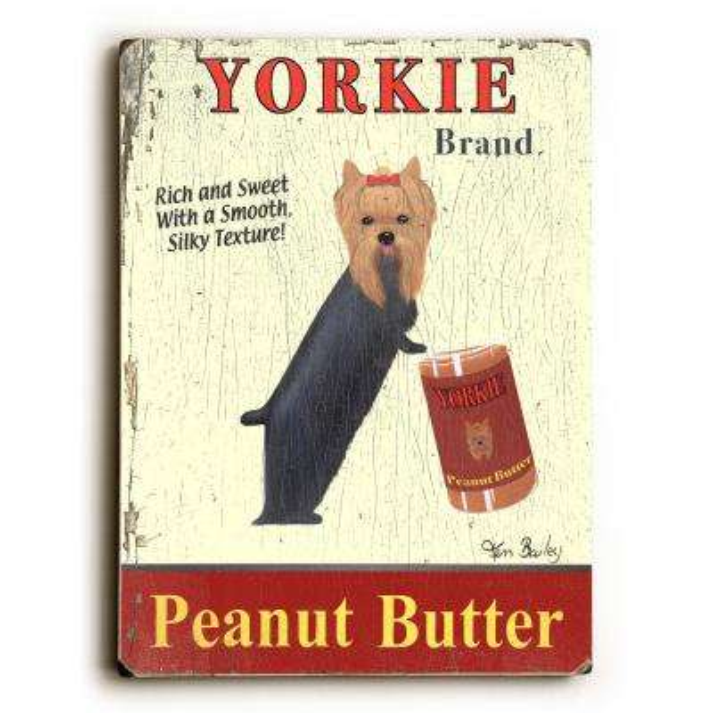 """9 in. x 12 in. """"Yorkie Peanut Butter"""" by Ken Bailey """"Solid Wood"""" Wall Art"""