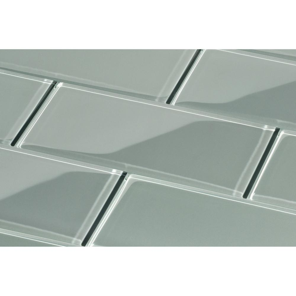 True Gray Subway 3 in. x 6 in. x 8mm Glass