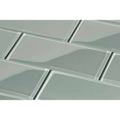 True Gray Subway 3 in. x 6 in. x 8mm Glass Backsplash and Wall Tile (5.5 sq. ft. / case)