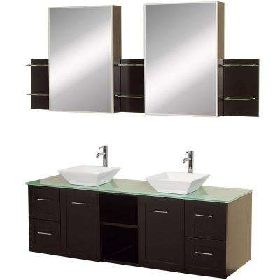 Avara 60 in. Vanity in Espresso with Double Basin Glass Vanity Top in Aqua and Medicine Cabinets