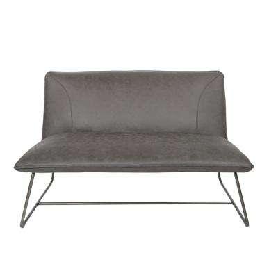 Brocton Loveseat in Charcoal Faux Leather with Gunmetal Frame