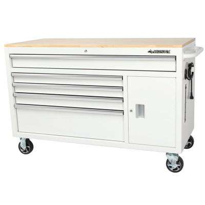 56 in. W x 24.5 in. D 5-Drawer 1-Door Tool Chest Mobile Workbench with Solid Wood Top in Gloss White