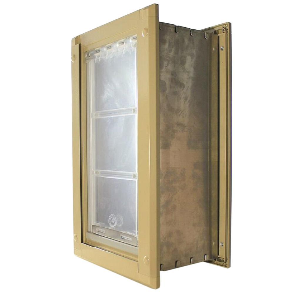 8 In X 15 In Medium Single Flap For Walls Pet Door With Tan Aluminum Frame