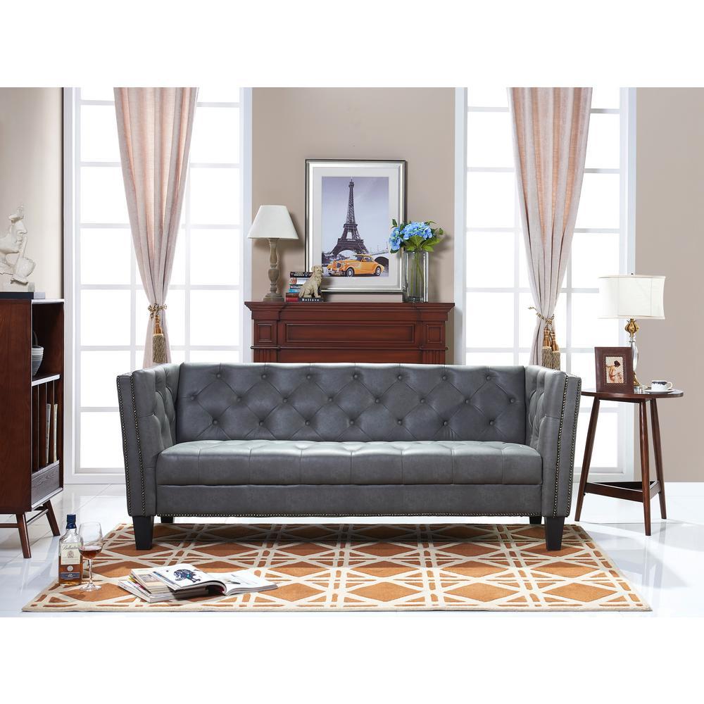 Preston Gray Bi-Cast Leather Sofa
