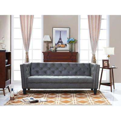 Preston Gray Bi-Cast Leather Sofa
