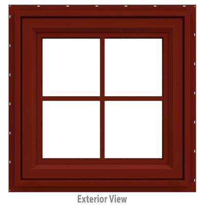 23.5 in. x 23.5 in. V-4500 Series Awning Vinyl Window with Grids - Red