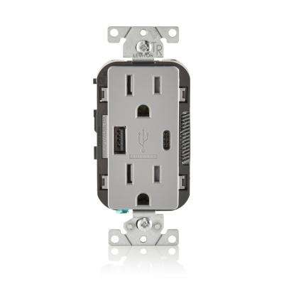 15 Amp Decora Type A and C USB Charger Tamper-Resistant Outlet, Gray