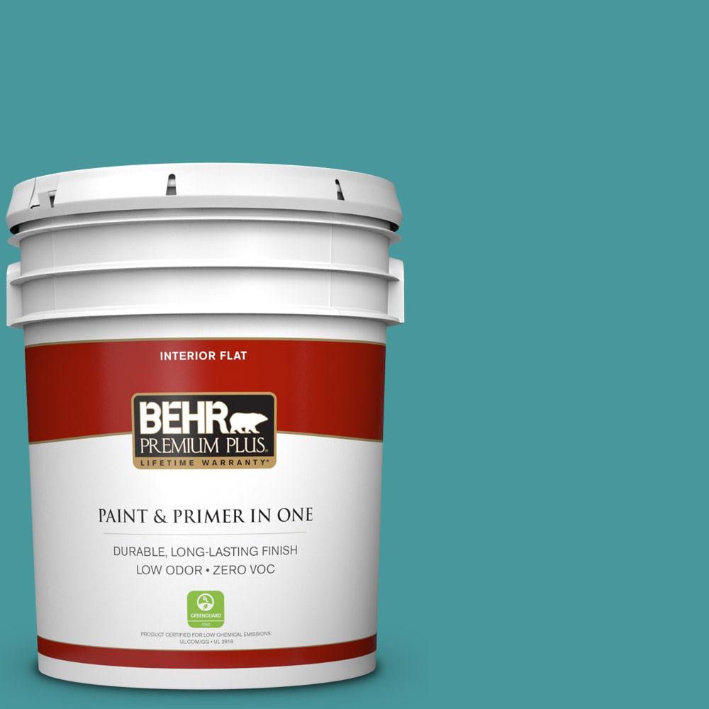 5 gal. #510D-6 Aquatic Green Zero VOC Flat Interior Paint