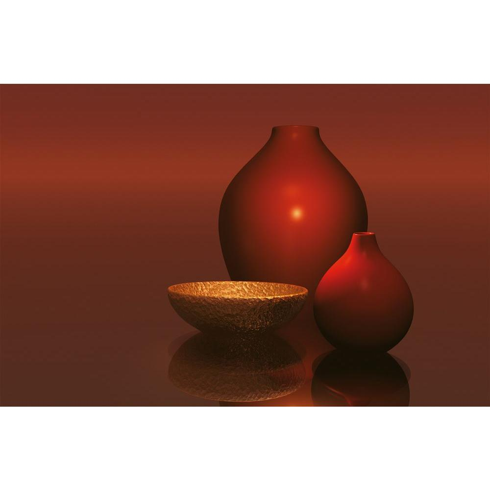 Ideal Decor 45 in. x 69 in. Red Vases with Bowl Wall Mural