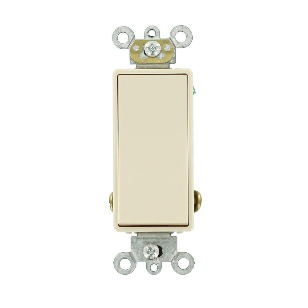 Leviton 15 Amp Decora Plus Commercial Grade Single Pole Double-Throw Center-Off Maintained Contact Rocker Switch, Light Almond