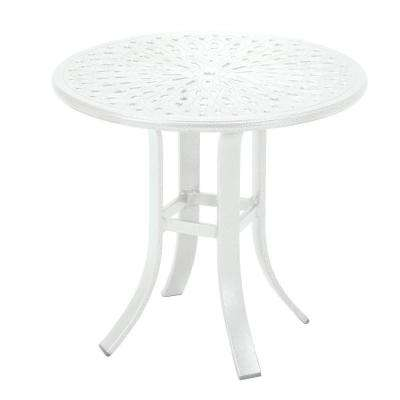 24 in. White Cast Aluminum Commercial Patio Occasional Table