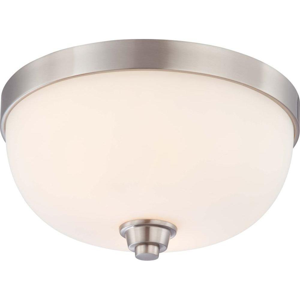 2-Light Brushed Nickel Flushmount Dome Fixture with Satin White Glass