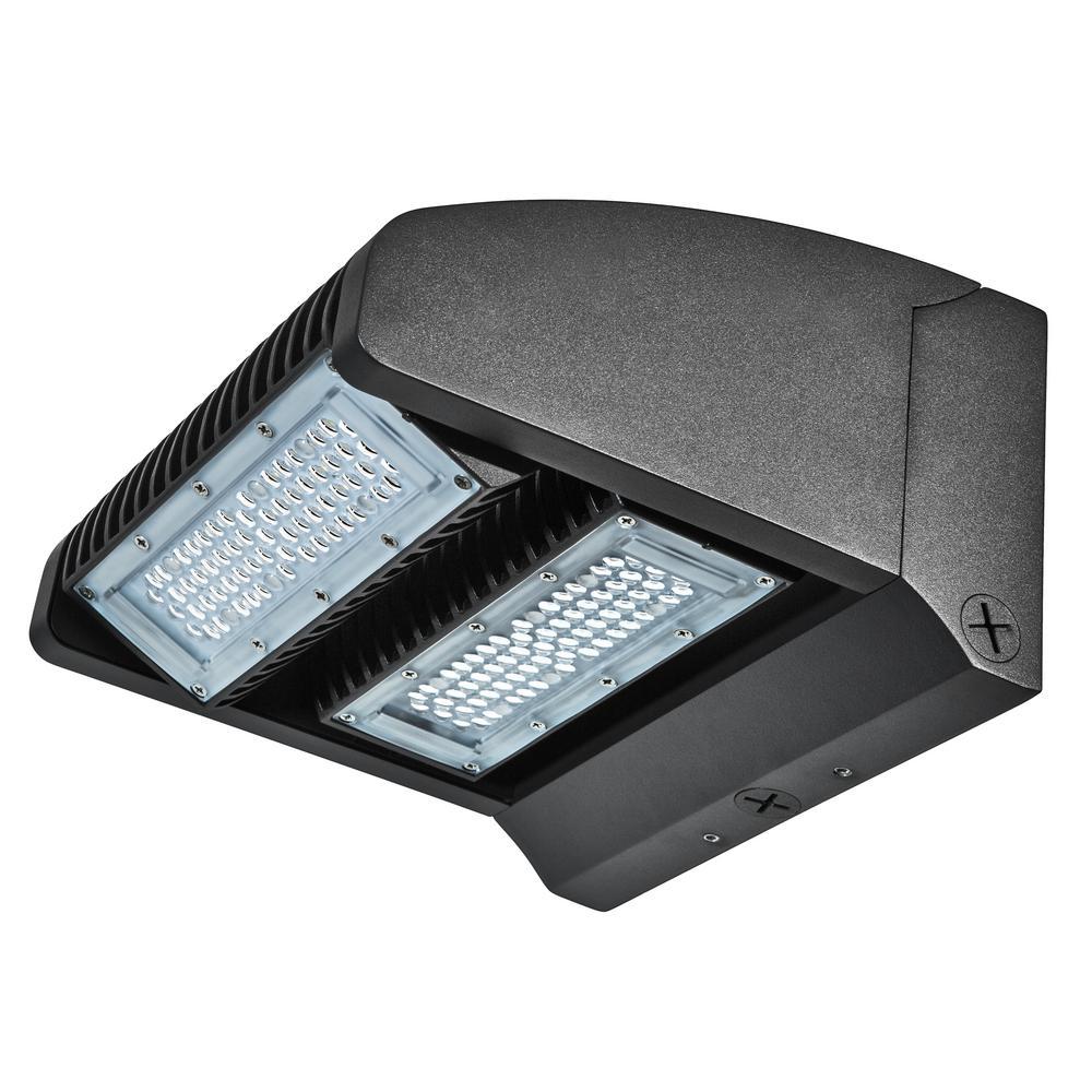 Rotatable 400-Watt Equivalent Integrated LED Black Outdoor IP65 Waterproof Wall Pack Light, 5000K