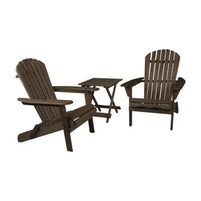Maribella Dark Brown Folding Wood Adirondack Chair with Table (2-Pack)