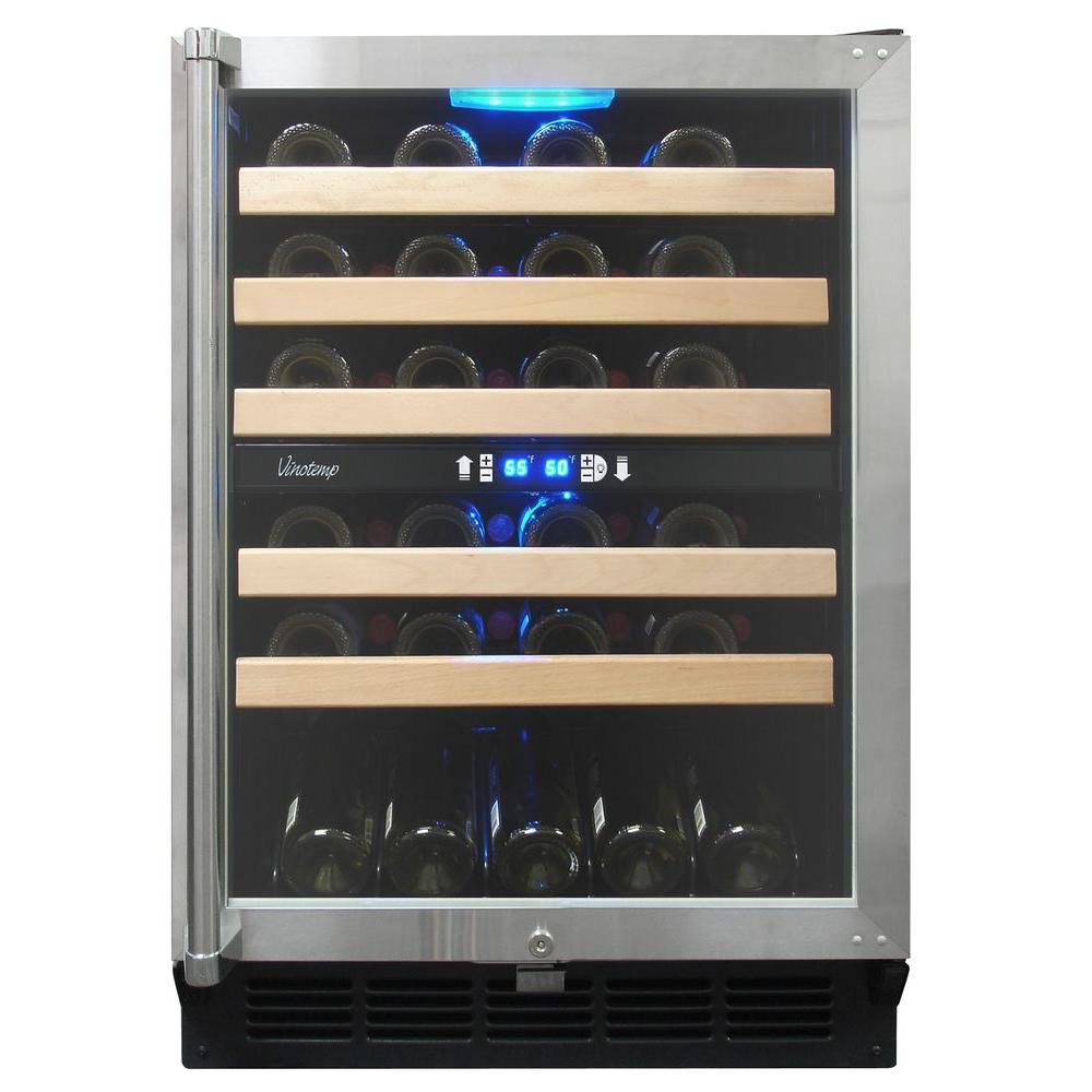 Vinotemp 45-Bottle Dual Zone Wine Cooler with Display Shelf