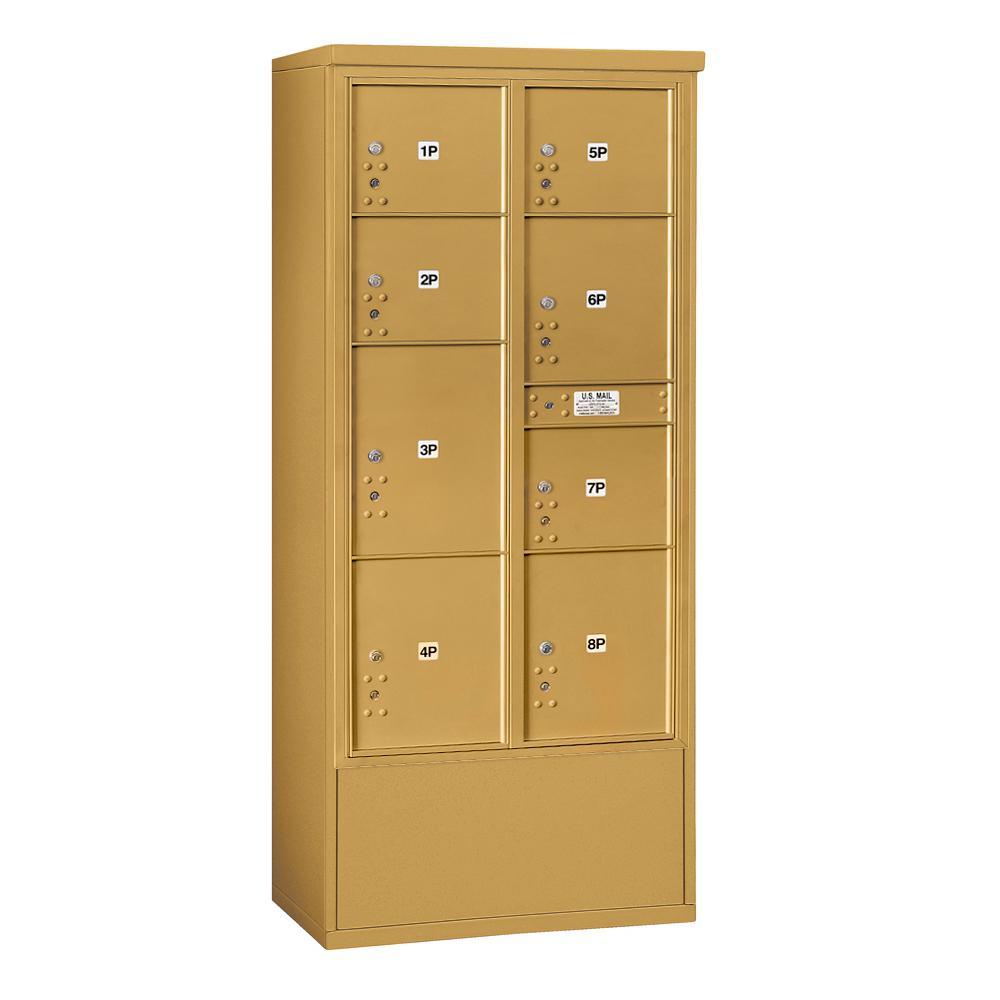 3900 Horizontal Series 8-Parcel Locker Free Standing Mailbox