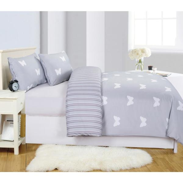LALA + BASH Wink Butterfly 2-Piece Grey Twin Comforter Set WI3GY=3