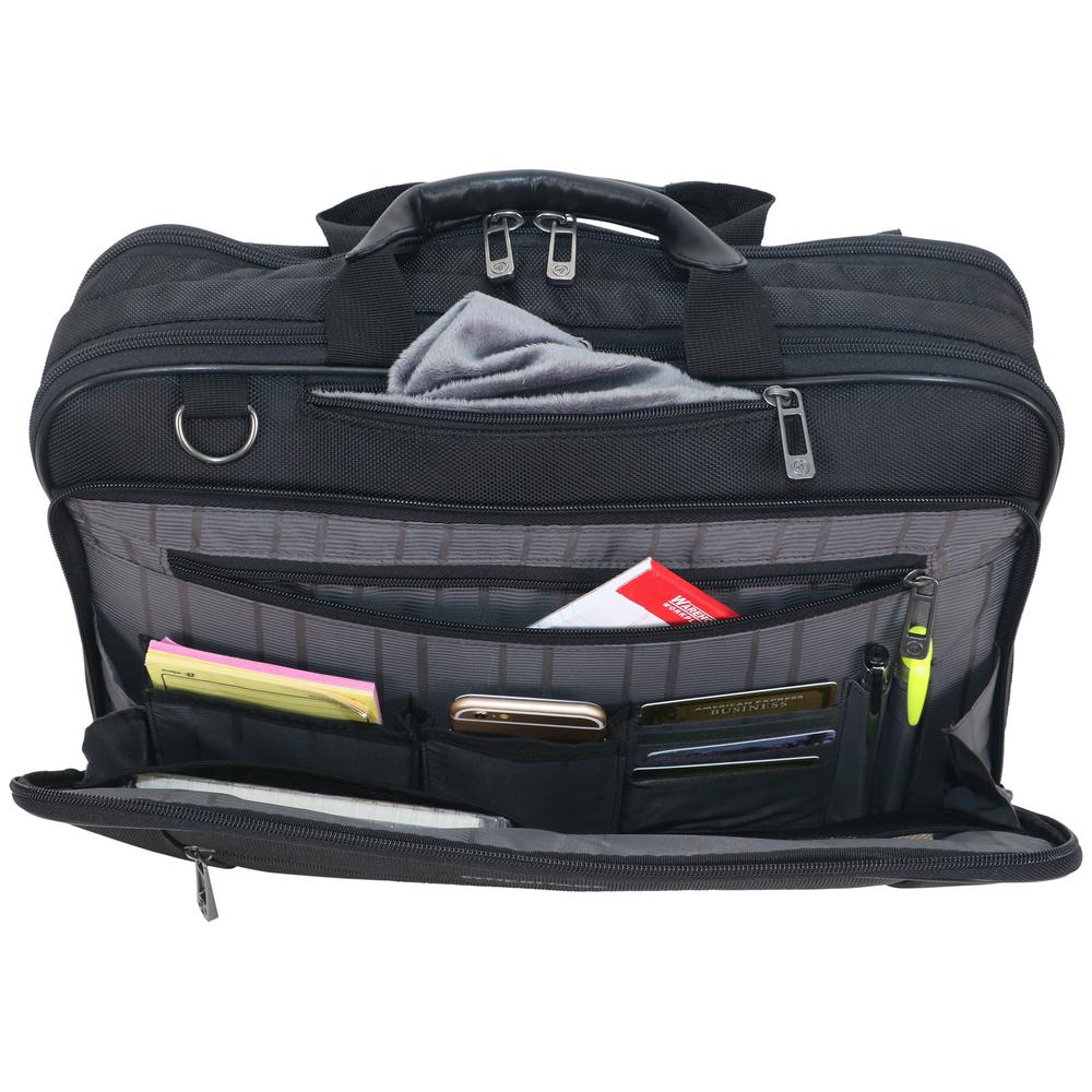 09e5c819db6 Heritage Black - Multi-Pocket 1680D Polyester Dual Compartment Top Zip  15.6in Laptop Case/Business Computer Portfolio 830675 - The Home Depot