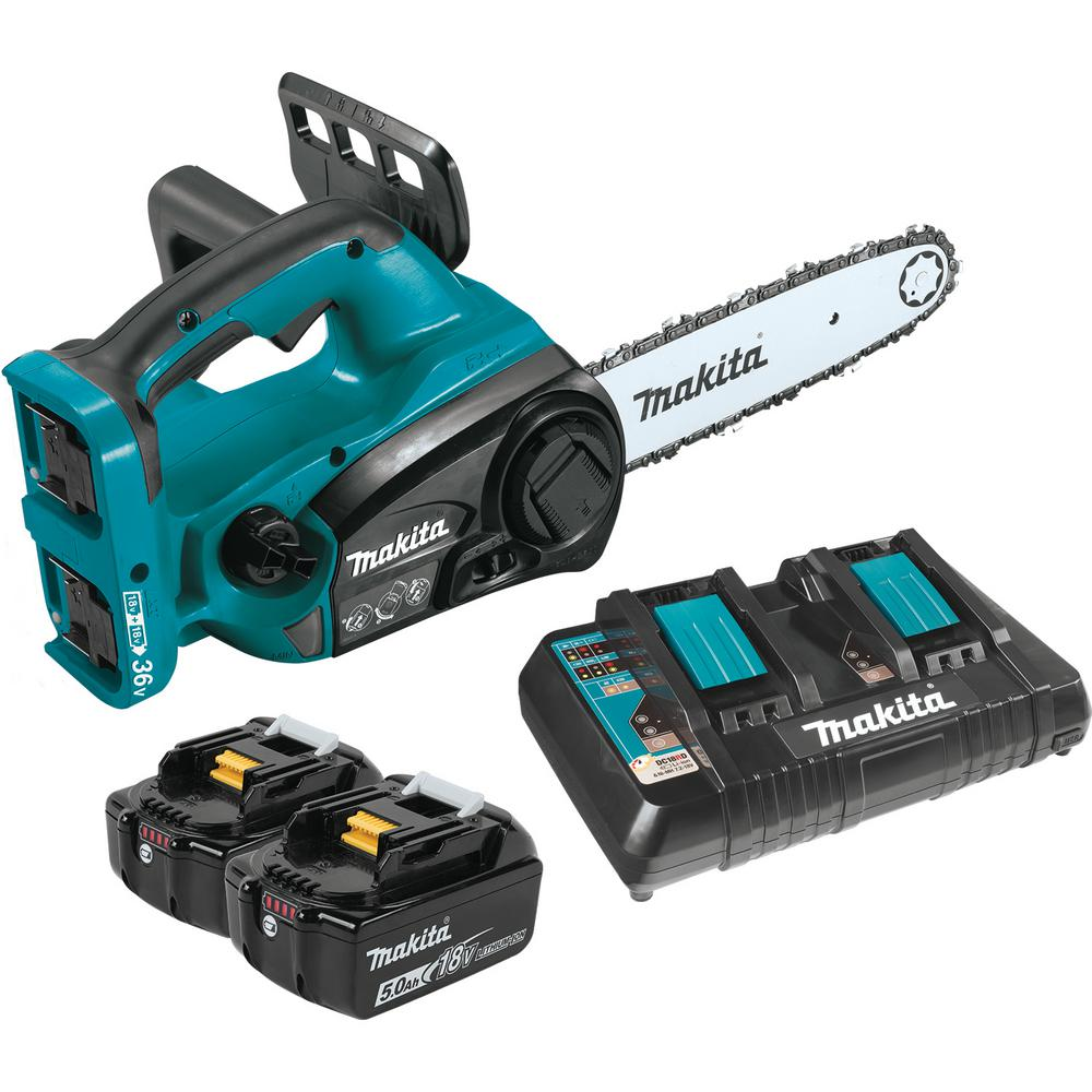 Makita 18-Volt X2 (36-Volt) LXT Lithium-Ion Cordless Chain Saw Kit with (2) Batteries 5.0Ah, Dual Port Charger, and Chain