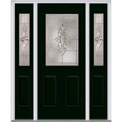 Heirloom Master Deco Glass 1/2 Lite Painted Majestic Steel Prehung Front  Door With Sidelites
