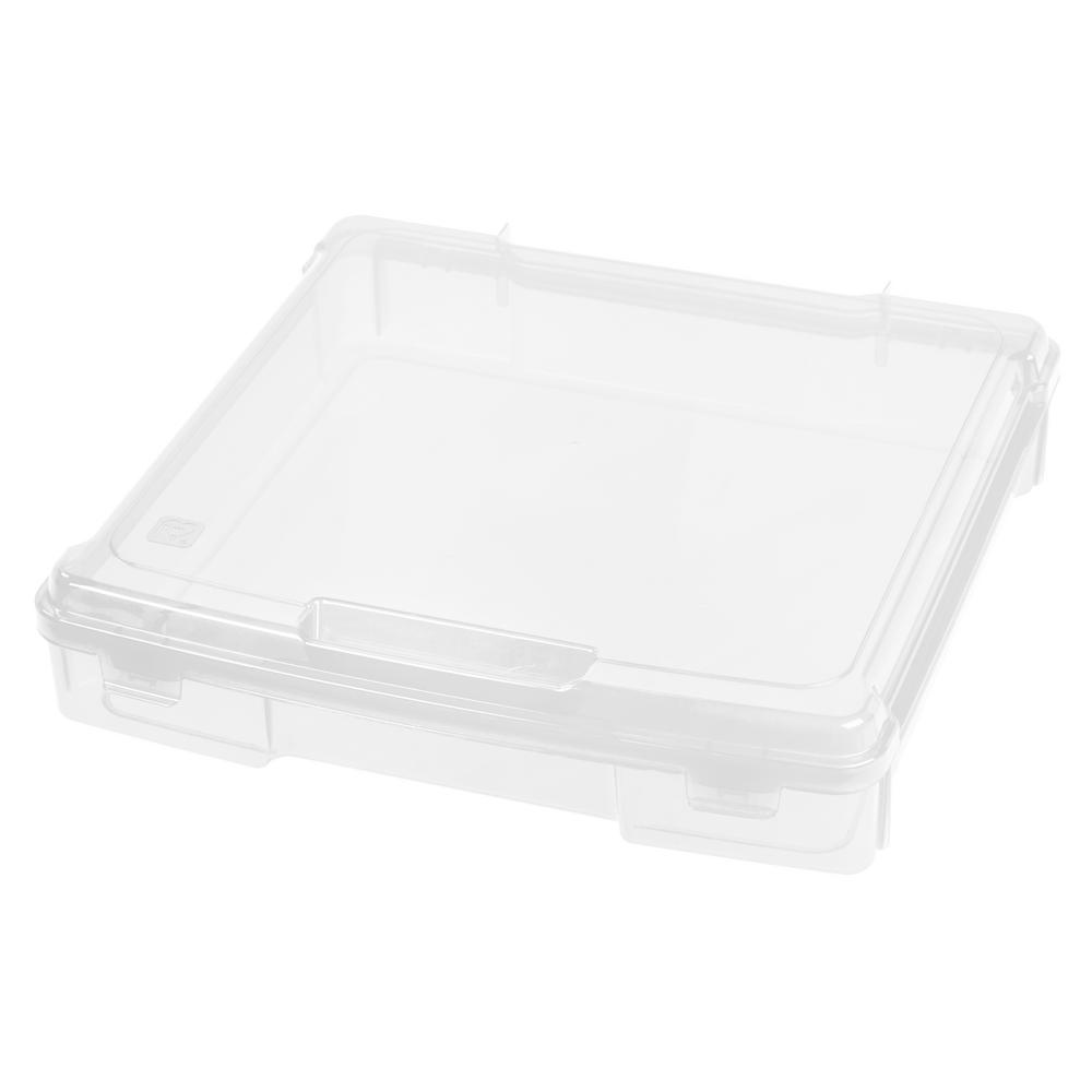 IRIS Single Compartment Plastic Project Case, Clear Keep your craft projects protected and organized with this portable project case by IRIS USA, Inc. This case is perfect for storing 12 in. x 12 in. scrap booking paper, scissors, adhesives, and embellishments. This scrapbook case is also great for protecting office supplies and electronics. Color: Clear.