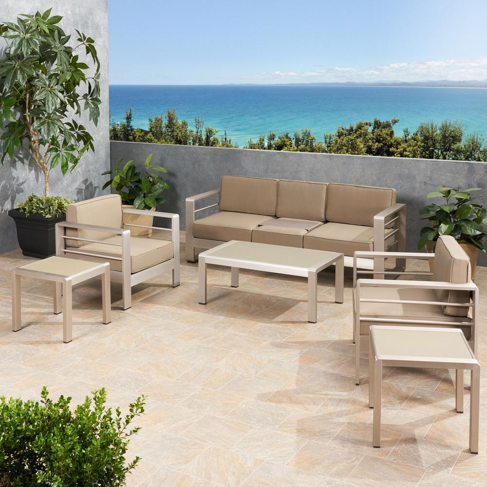 Cape Coral Silver 6-Piece Aluminum Patio Conversation Set with Khaki Cushions