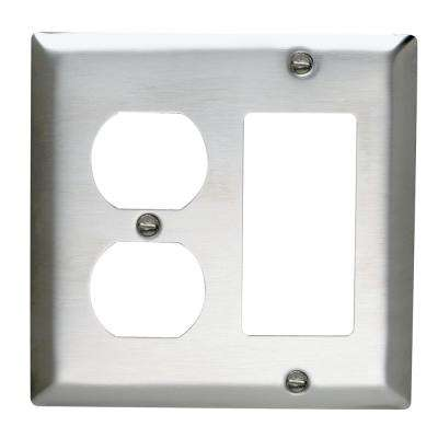 302 Series 2-Gang Duplex/Decorator Combination Wall Plate in Stainless Steel