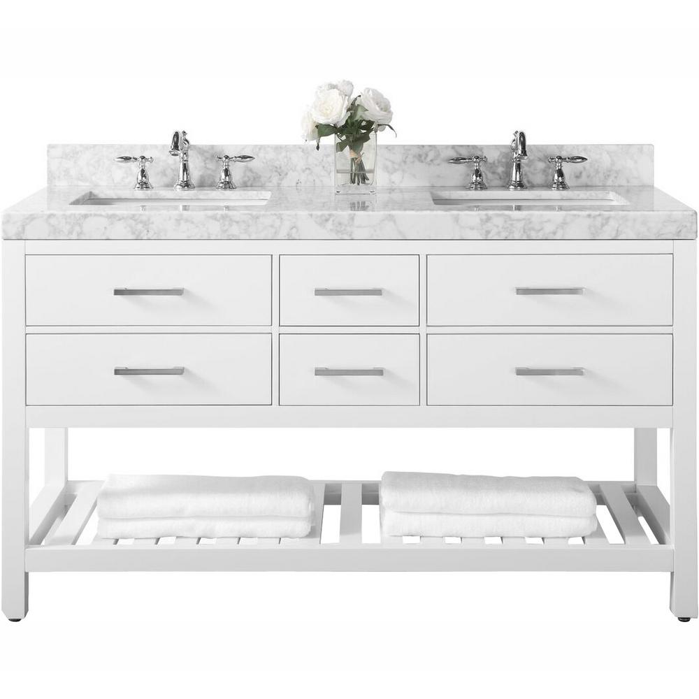 Ancerre Designs Elizabeth 60 in. W x 22 in. D Vanity in White with Marble Vanity Top in Carrara White with White Basins