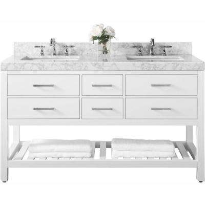 Elizabeth 60 in. W x 22 in. D Vanity in White with Marble Vanity Top in Carrara White with White Basins