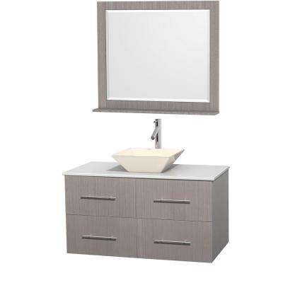 Centra 42 in. Vanity in Gray Oak with Solid-Surface Vanity Top in White, Bone Porcelain Sink and 36 in. Mirror