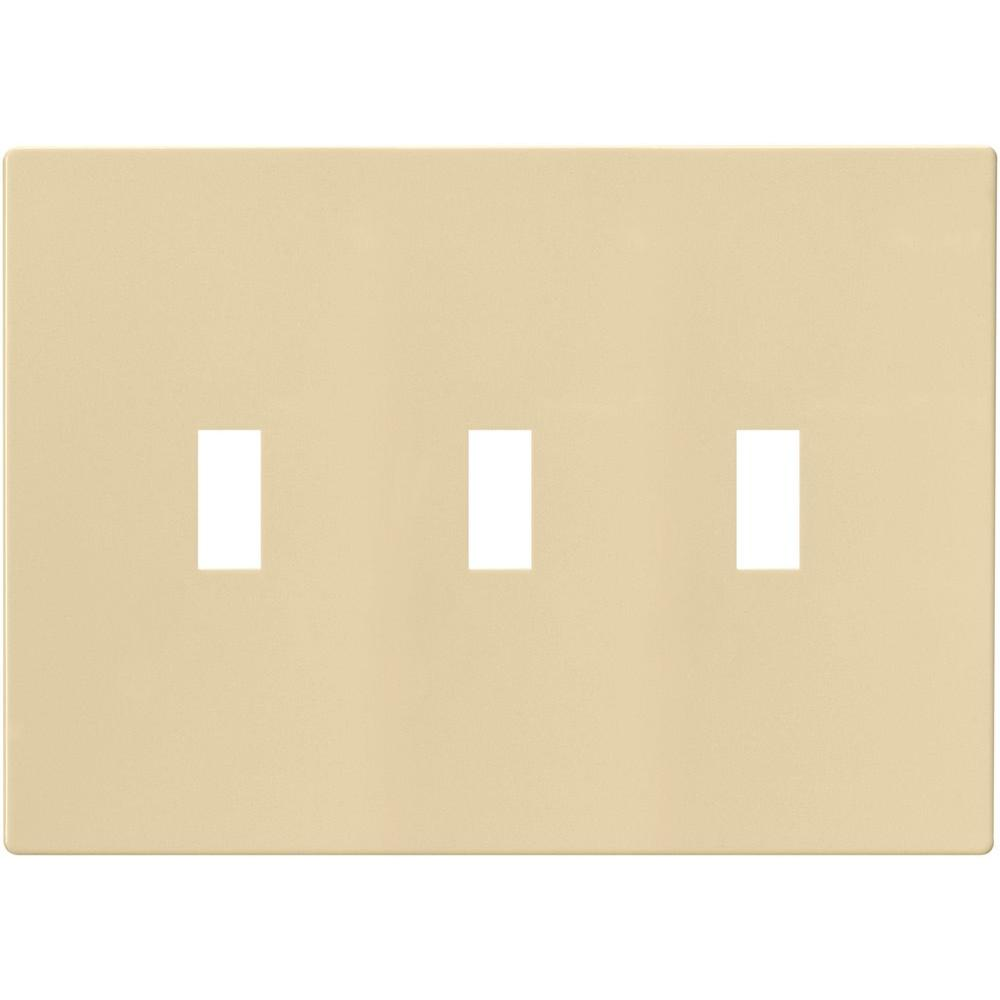 3-Gang Screwless Toggle Switch Mid-Size Wall Plate, Ivory