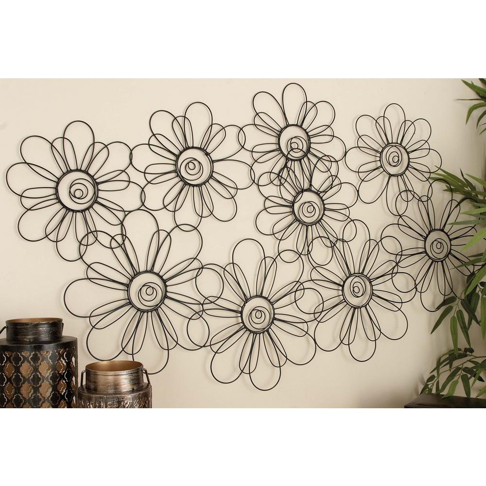 46 In X 29 In New Traditional Iron Wire Flower Montage